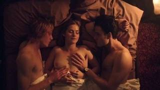 Threesome sex scenes with Marie Tourell Soderberg in film Steppeulven (2014)